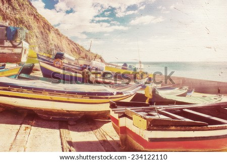 Traditional Fishing Boats lying in a tiny Village in Madeira, Portugal - stock photo
