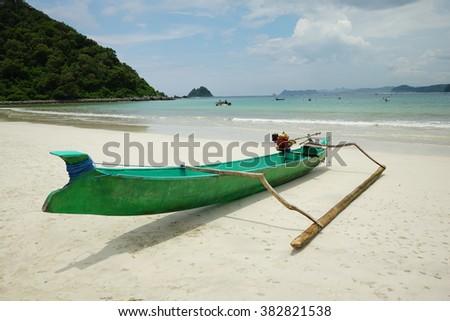 Traditional Fishing Boats on Senggigi Beach, Lombok Indonesia. - stock photo