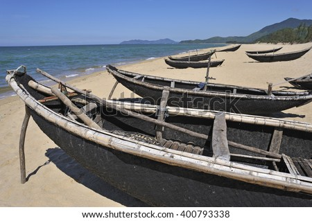 Traditional fishing boats on Vinh Hien beach, near Hue, Vietnam, Southeast Asia