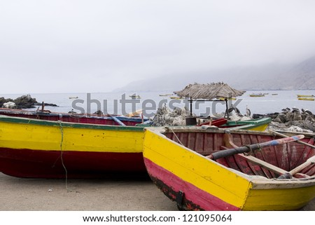 Traditional fishing boats, Pacific Coast of Chile
