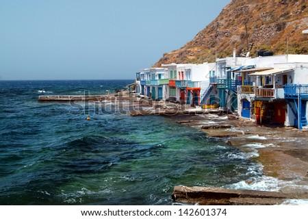Traditional fishing village on Milos island, Greece - stock photo