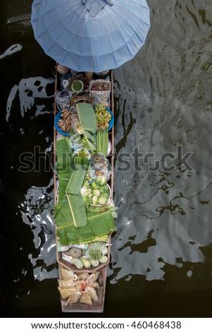 Traditional floating market in Damnoen Saduak, Ratchaburi Thailand. Jul 23, 2016 - stock photo