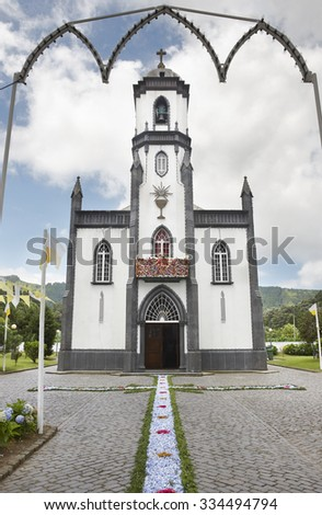 Traditional floral offering on Sete Cidades church. Sao Miguel island. Portugal - stock photo
