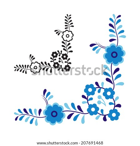 Traditional folk ornament and pattern isolated on white background - stock photo