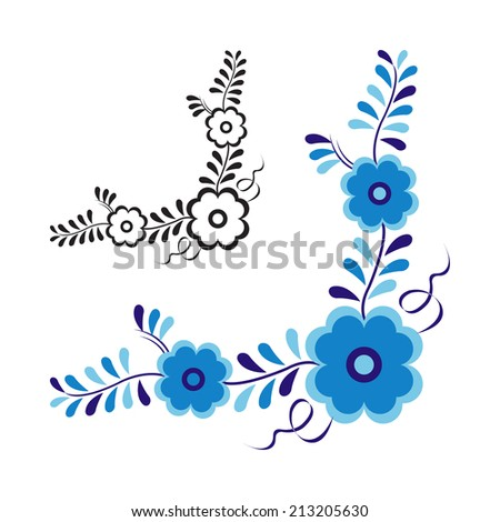 Traditional folk ornament and pattern isolated on white background (Vector version is also available in my portfolio, ID 163572668) - stock photo