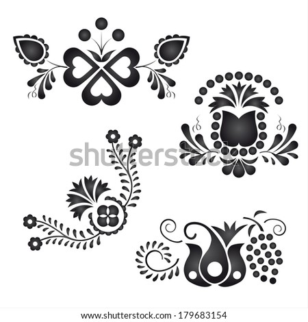 Traditional folk ornaments isolated on white background (Vector version is also available in my portfolio, ID 119315590) - stock photo