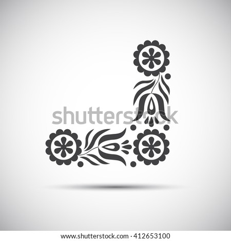 Traditional folk patterns, illustration of simple folk symbol - stock photo