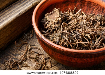 Traditional folk remedy from valerian roots in a mortar