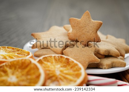 traditional food and decorations for christmas, rustic photo