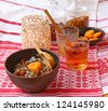 "Traditional food in eve Christmas ""Kutya"" with a fruit compote on a background a lantern and ingredients - stock photo"
