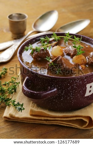 Traditional french beef goulash - Boeuf bourguignon