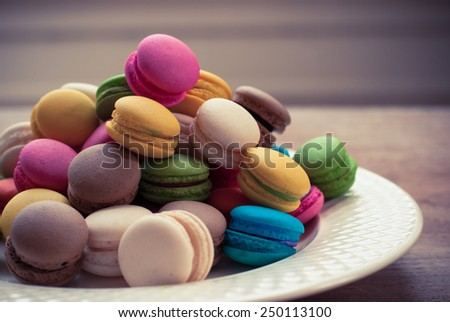 traditional french colorful macarons, background - stock photo