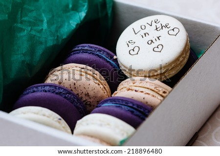 traditional french colorful macaroons in a rows in a box ( love is in the air ) - stock photo