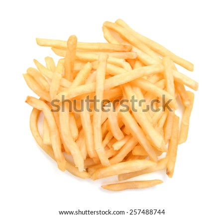 traditional french fries on white background