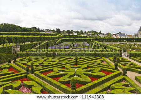 Traditional French Garden. Ornamental Garden. Chateau De Villandry Is A  Castle Palace Located
