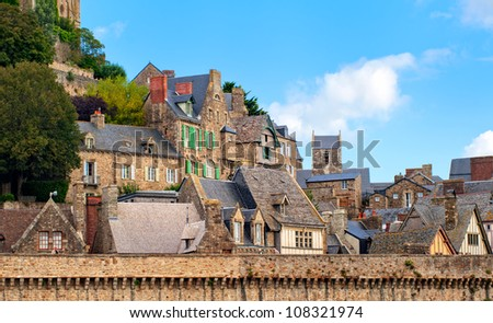Traditional french village on atlantic coast, Normandy, France - stock photo