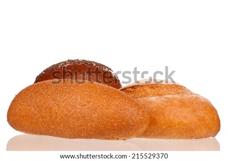 Traditional fresh bread on a sacking on white background - stock photo