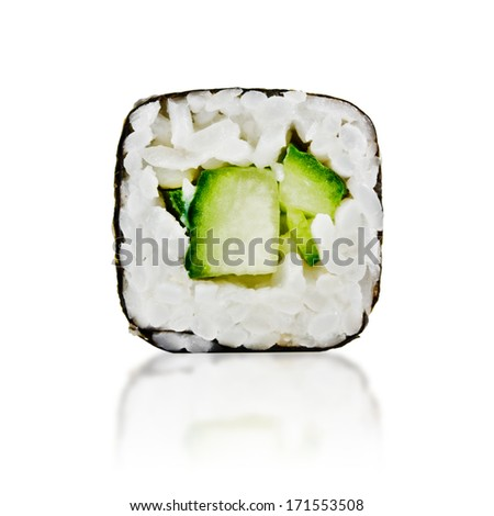 traditional fresh japanese sushi rolls on a white background