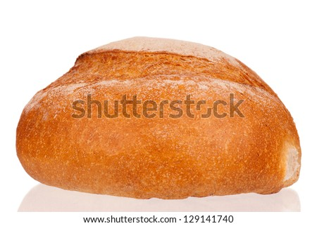 Traditional fresh round white bread with shadow on white background - stock photo