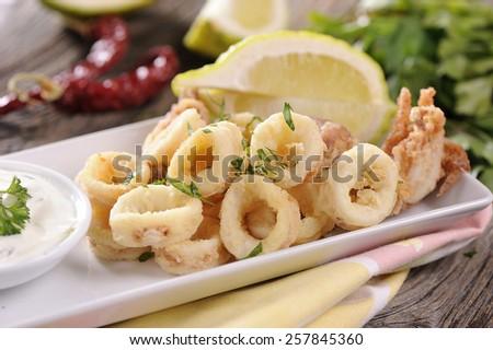 Traditional Fried Calamari - stock photo