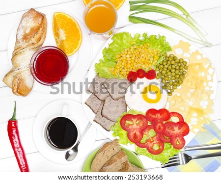 Traditional Full English Breakfast. Sunny-side-up fried eggs, sausages, beans, mushrooms and bacon. - stock photo