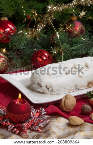 traditional german christmas cake cranberry stollen christmas tree ornaments and candles - German Christmas Tree