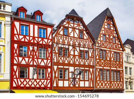 Traditional German half-timbered houses in Trier, Rhineland-Palatinate, Germany - stock photo