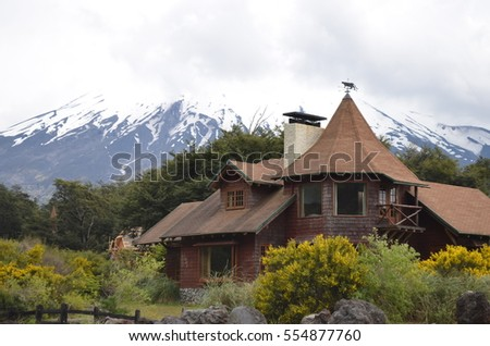Traditional Germanic style building in the village of Petrohue, in the Chilean Lake District, Northern Patagonia.