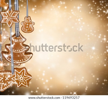 Traditional gingerbread on shiny blur background