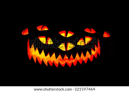 scary jack o lantern face template - scary face isolated on black background stock vector