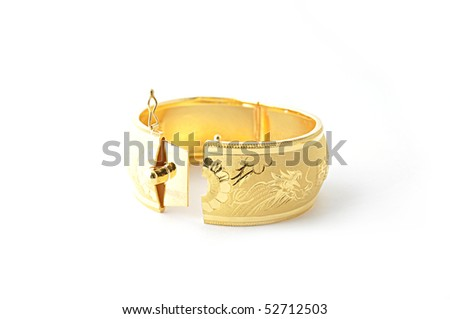 Traditional gold bracelets for Chinese wedding isolated on white