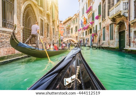 stock photo traditional gondolas on narrow canal in venice italy with retro vintage toned instagram style 444112519 - Каталог — Фотообои «Венеция»