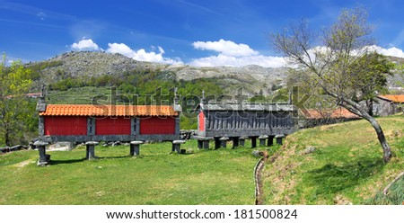 Traditional granite Granary in North Portugal (Peneda-Geres National Park) - stock photo