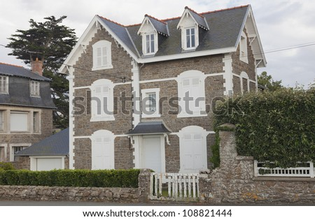 Traditional granite house in Brittany - Saint-Malo, Brittany, France - stock photo