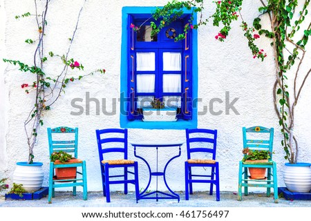 Traditional Greece series - small cute street tavernas, Kos island