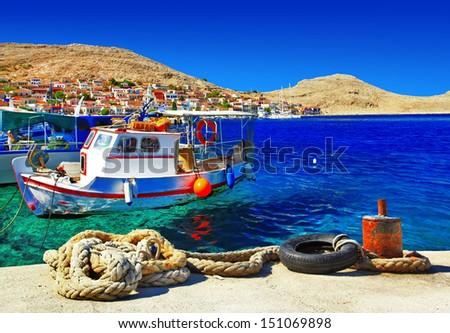 traditional Greece series -small fishing island Halki - stock photo
