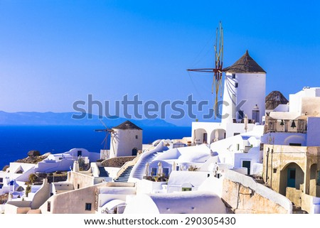 Traditional Greece - windmills of Santorini - stock photo