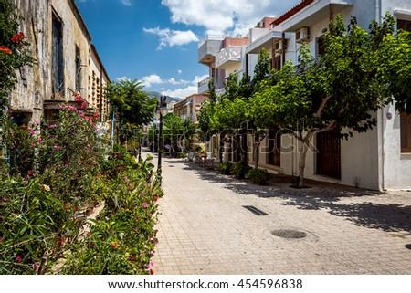 Traditional Greek architecture of Paleochora town on Crete island - stock photo