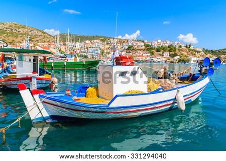 Traditional Greek fishing boat in Pythagorion port, Samos island, Greece - stock photo