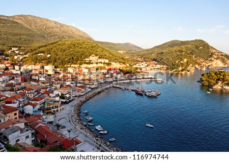 Traditional Greek fishing village of Parga, ionian sea, mediterranean sea, Greece, Europe - stock photo