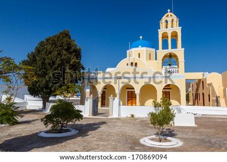 Traditional Greek Orthodox church in Santorini, Greece  - stock photo