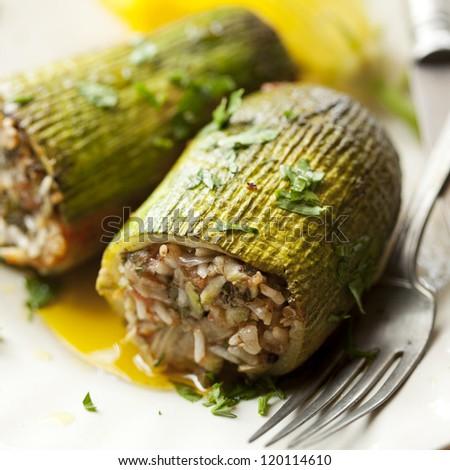 traditional greek stuffed zucchini - stock photo