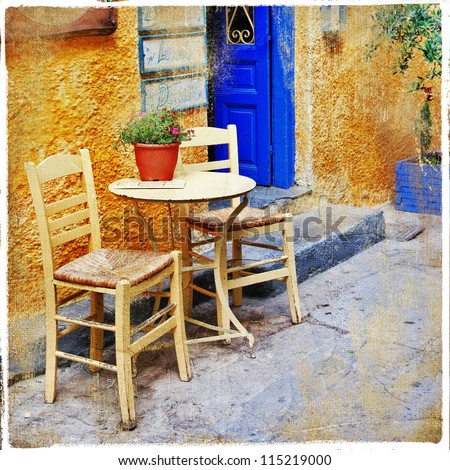 traditional greek tavernas. artistic picture - stock photo