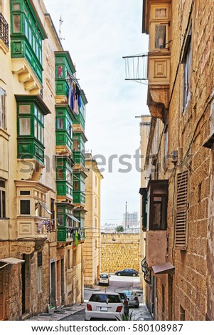 Traditional green balconies at Valletta old town, Malta
