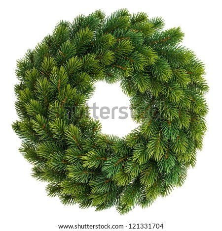 traditional green christmas decoration evergreen wreath undecorated isolated on white background - stock photo