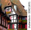 Traditional half-timbered architecture in Alsace - Obernai France - stock photo