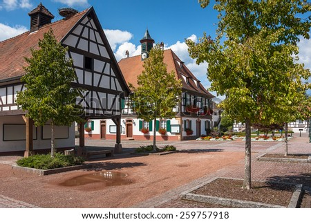 Traditional half-timbered houses in the streets of the small town of Seebach in Alsace, France