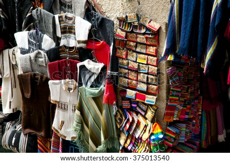 Traditional Hand Knitted Clothing - La Paz - Bolivia - stock photo