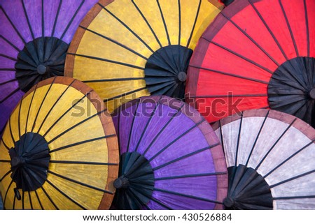 Traditional handicraft colorful umbrellas in Thailand and Asia