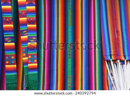 Traditional handmade Guatemalan design fabric - stock photo